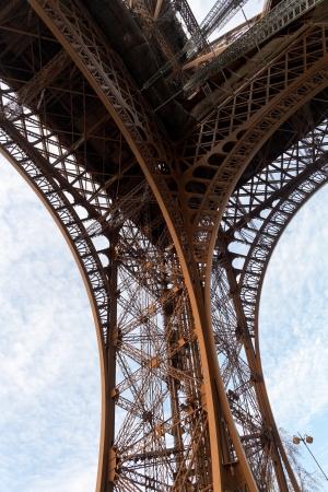 metal base: metal base of Eiffel Tower in Paris