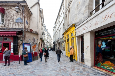 jewish houses: PARIS, FRANCE - MARCH 6: Jewish quarter of Le Marais. The rue des Rosiers is a major centre of the Paris Jewish community in Paris, France on March 6, 2013