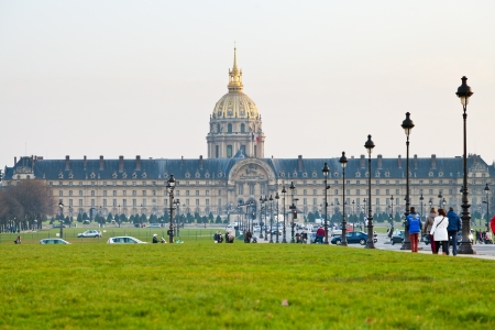 PARIS, FRANCE - MARCH 4: Hotel des Invalides. Louis XIV initiated the project by an order dated 24 November 1670, as a home and hospital for aged and unwell soldiers in Paris, France on March 4, 2013 Editorial
