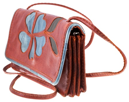 pochette: small handy leather woman handbag with flower ornament