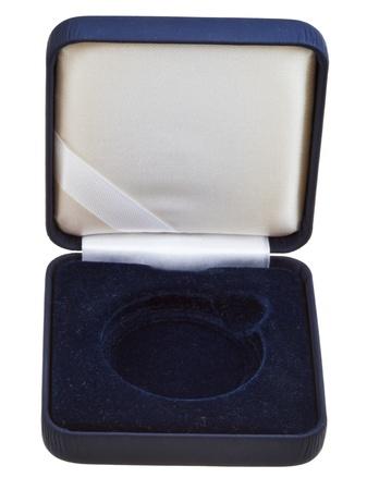 numismatic: open empty black velvet numismatic case isolated on white background Stock Photo