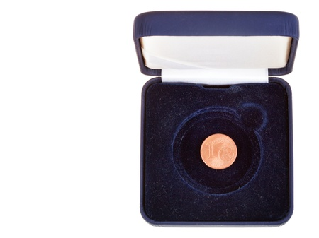 numismatic: one euro cent coin in open black numismatic case isolated on white bsckground Stock Photo