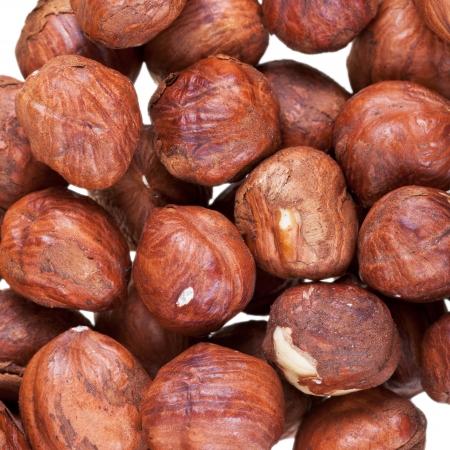 cobnut: background from many hazelnuts close up Stock Photo