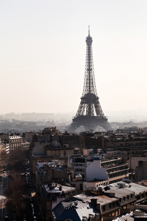 Avenues D Iena and Eiffel tower on background in Paris photo