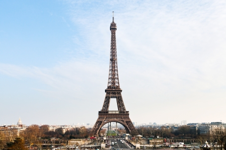 panorama with eiffel tower from Trocadero in Paris photo