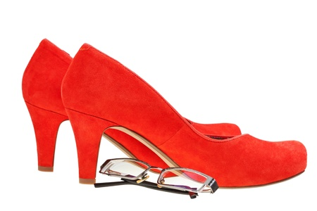 high heels woman: red high heels woman shoes and eyeglasses isolated on white background