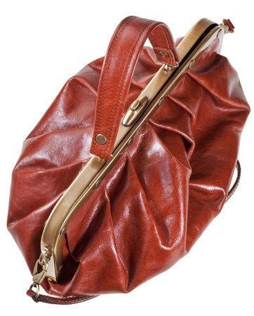 reticule: retro style brown leather bag portmanteau isolated on white background Stock Photo
