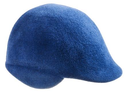 felt blue cap isolated on white background Stock Photo - 19418039