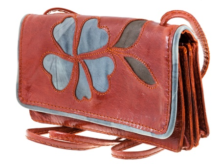 pochette: small handy leather woman handbag with flower ornament