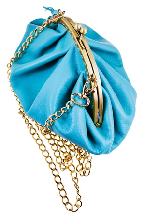 pochette: blue leather retro style theater bag isolated on white background