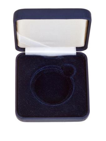 numismatic: open empty black velvet numismatic box isolated on white background Stock Photo