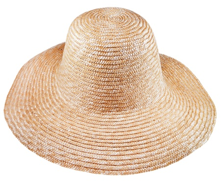 coolie hat: simple rural straw broad-brim hat isolated on white background