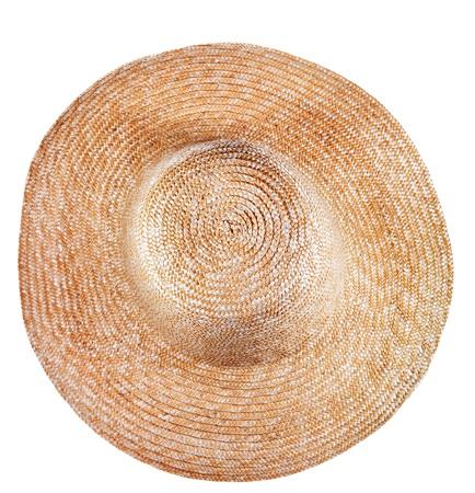 coolie hat: top view of simple rural straw broad-brim hat isolated on white background