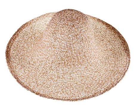 coolie hat: simple summer straw broad-brim hat isolated on white background Stock Photo