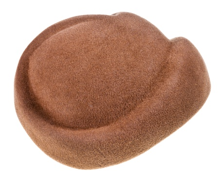 dressy: felt brown dressy hat isolated on white background