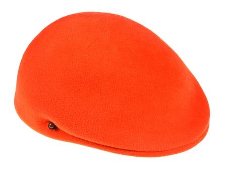 flat cap: felt orange flat cap isolated on white background Stock Photo