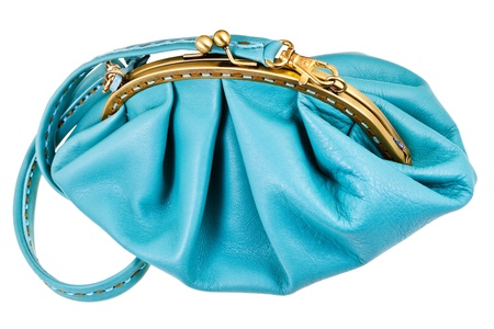 pochette: closed blue leather woman hanbag isolated on white background Stock Photo