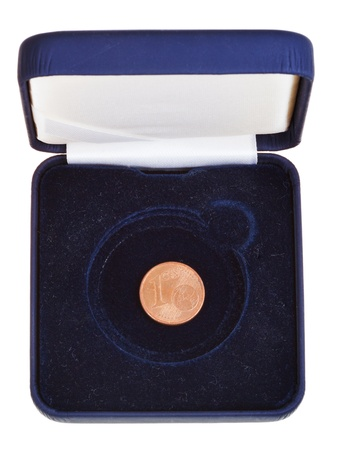 numismatic: one euro cent coin in open black numismatic box isolated on white background