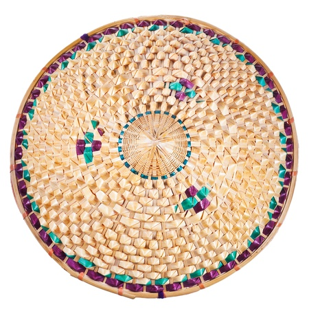 coolie hat: top view of vietnamese style straw hat isolated on white background