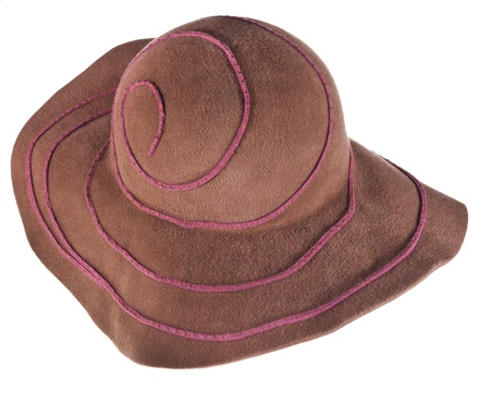 brim: brown broad brim felt hat isolated on white background