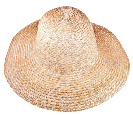 coolie hat: country straw broad brim hat isolated on white background Stock Photo