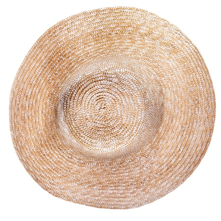 brim: top view of country straw broad brim hat isolated on white background
