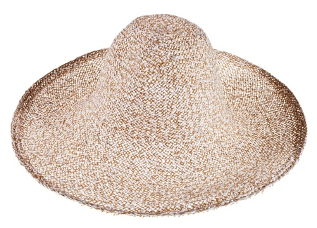 coolie hat: country straw wide brim hat isolated on white background Stock Photo