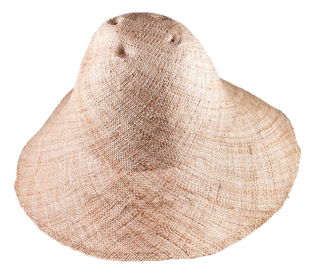 coolie hat: simple rural straw wide brim hat isolated on white background