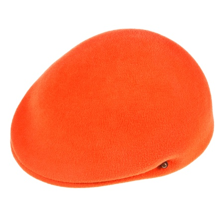 felt orange flat cap bunnet isolated on white background Stock Photo - 19418957