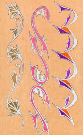 silver grass: abstract floral ornament on wrapping paper drawn by gel pen