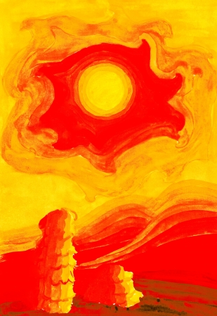 stylized drawing - hot sun in yellow sky over the red-hot desert photo