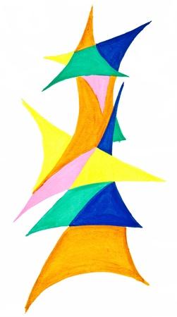 trigonal: abstract geometric triangular objects drawn on white paper