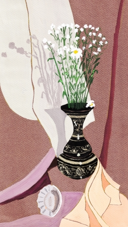 chamomel: still life with small white camomiles in metal jug
