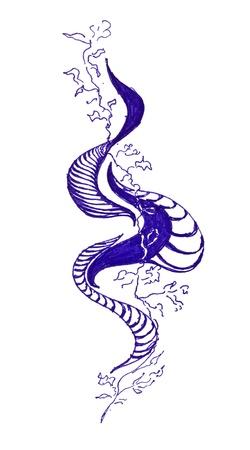 ballpen: abstract wave drawing by blue ballpen