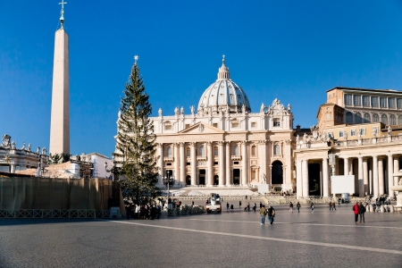 ROME, ITALY - DECEMBER 16: St.Peter Cathedral and Christmas tree in Rome, Italy on December 16, 2010. Construction of the present basilica began on 18 April 1506 and was completed on 18 November 1626