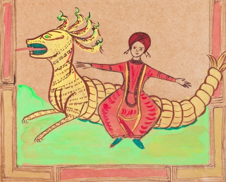 habiliment: historical clothes - arab prince flying on dragon stylized under medieval Persian miniatures Stock Photo