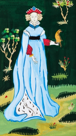 france painted: historical costume - woman on nature France first half of the 15th century