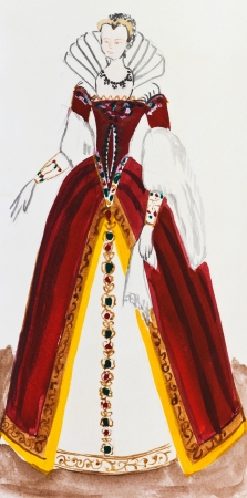 habiliment: historical costume - female royal costume in France late 16th century Stock Photo