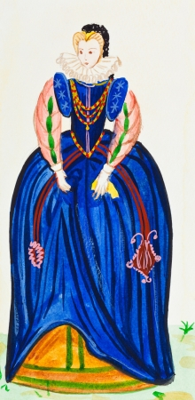 france painted: historical costume - costume royal honor the late 16th century in France