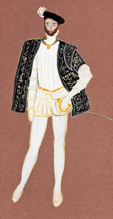 france painted: historical costume - full dress French count mid-16th century