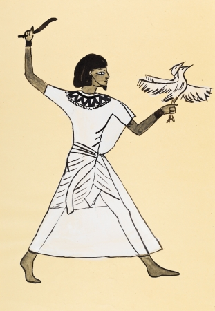 habiliment: historical costume - Ancient Egyptian costume of hunter styled tomb painting Menna 1500 BC