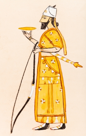 historical costume - Assyrian warrior styled tiles 650 BC