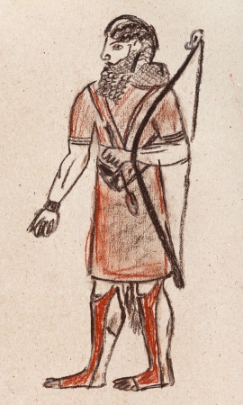 habiliment: historical costume - Assyrian and Babylonian warrior archer under the bas-relief of Khorasan 7th century BC