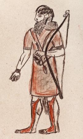 babylonian: traje hist�rico - asiria y babil�nica guerrero arquero bajo el bajorrelieve de Joras�n s�ptimo siglo AC Foto de archivo