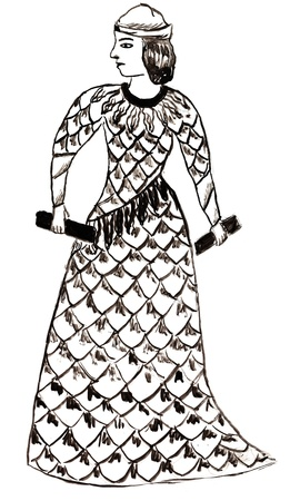 sumerian: historical costume - Sumerian goddess woman or priestess, styled in the image on the cup 23 century BC, Tehran Stock Photo
