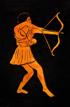 ancient greece: historical costume - ancient Greek archer styled under painting of skyphos 5th century BC