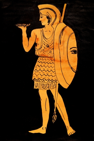 habiliment: historical costume - ancient greece Warrior stylized classical Greek painting 5th century BC