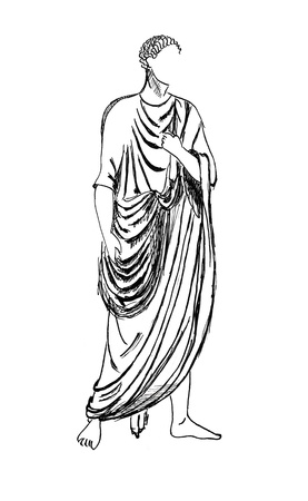 toga: historical costume - Ancient Roman emperor in a tunic, styled with relief the end of the 1st century Stock Photo