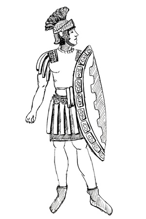 habiliment: historical costume - Ancient Rome Pretorian warrior stylized bas-relief 1 century BC Stock Photo
