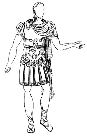 1st century: historical costume - ancient Roman armor commander or the emperor, styled with a statue of the early 1st century AD